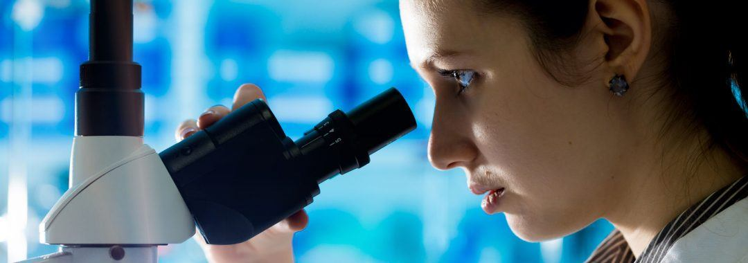 Looking into a microscope